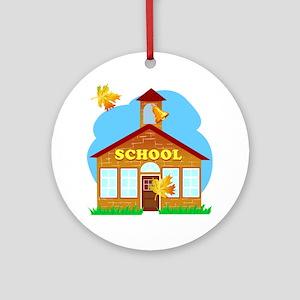 classic schoolhouse graphic Round Ornament