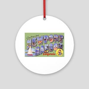 Newport Harbor California Greetings Ornament (Roun