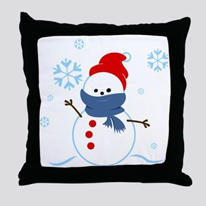 cute snowman with scarf and hat Throw Pillow