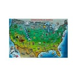 USA Cartoon Map Rectangle Magnet (10 pack)