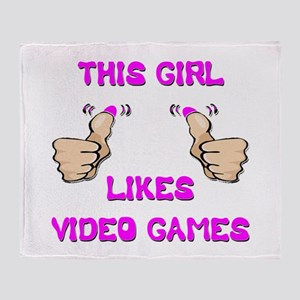 This Girl Likes Video Games Throw Blanket
