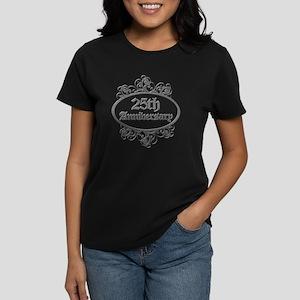 25th Wedding Aniversary (Engraved) Women's Dark T-