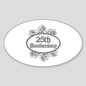 25th Wedding Aniversary (Engraved) Sticker (Oval)