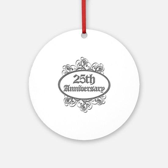 25th Wedding Aniversary (Engraved) Ornament (Round