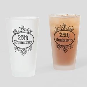 25th Wedding Aniversary (Engraved) Drinking Glass