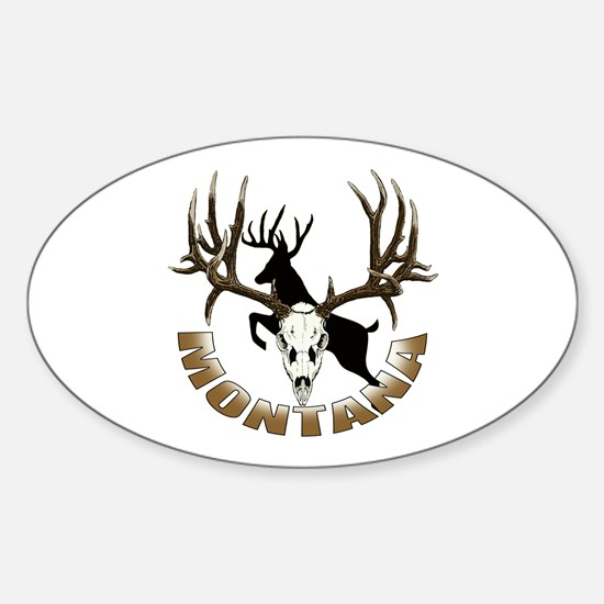 Montana deer skull Sticker (Oval)