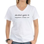 Alcohol Goes In Happiness Comes Out Women's V-Neck