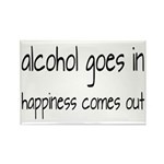 Alcohol Goes In Happiness Comes Out Rectangle Magn