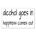 Alcohol Goes In Happiness Comes Out Sticker (Recta