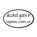 Alcohol Goes In Happiness Comes Out Oval Car Magne