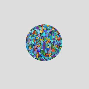 Blue abstract mosaic Mini Button