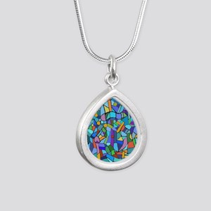 Blue abstract mosaic Silver Teardrop Necklace