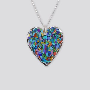Blue abstract mosaic Necklace Heart Charm