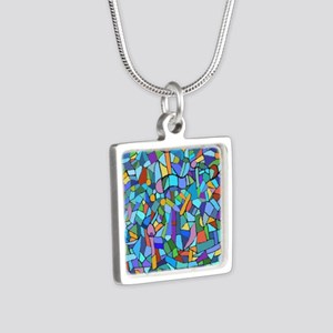 Blue abstract mosaic Silver Square Necklace