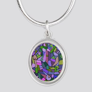 Purple abstract mosaic Silver Oval Necklace