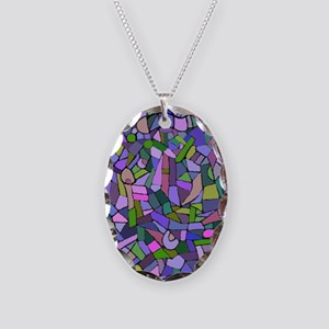 Purple abstract mosaic Necklace Oval Charm