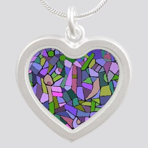 Purple abstract mosaic Silver Heart Necklace