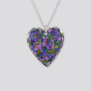 Purple abstract mosaic Necklace Heart Charm