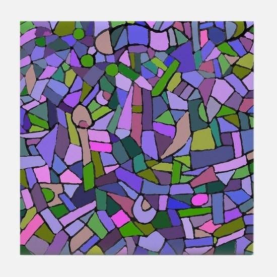 Purple abstract mosaic Tile Coaster