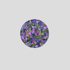 Purple abstract mosaic Mini Button