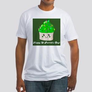 Happy St Patricks day green cupcake Fitted T-Shirt