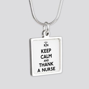 Keep Calm And Thank A Nurse Silver Square Necklace