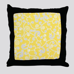 Elegant Yellow and Gray Scroll Pattern Throw Pillo