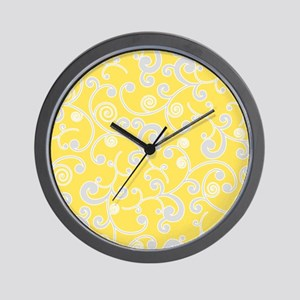 Elegant Yellow and Gray Scroll Pattern Wall Clock