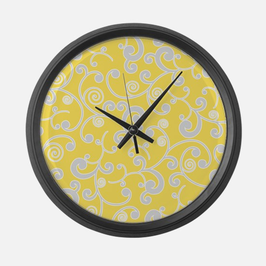 Elegant Yellow and Gray Scroll Pattern Large Wall