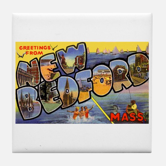 New Bedford Massachusetts Greetings Tile Coaster