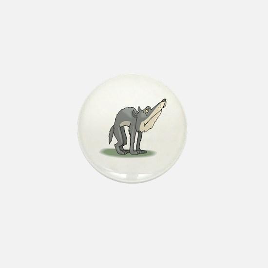 Funny Grey Wolf Mini Button