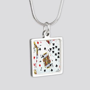 Spread out game cards Silver Square Necklace