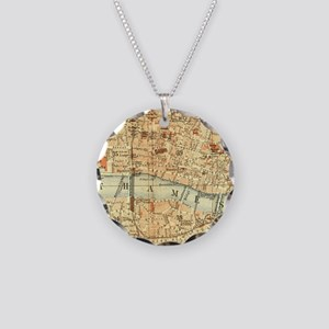 Vintage map of London Necklace Circle Charm