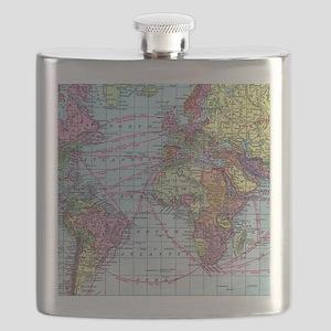 Vintage World travel map Flask