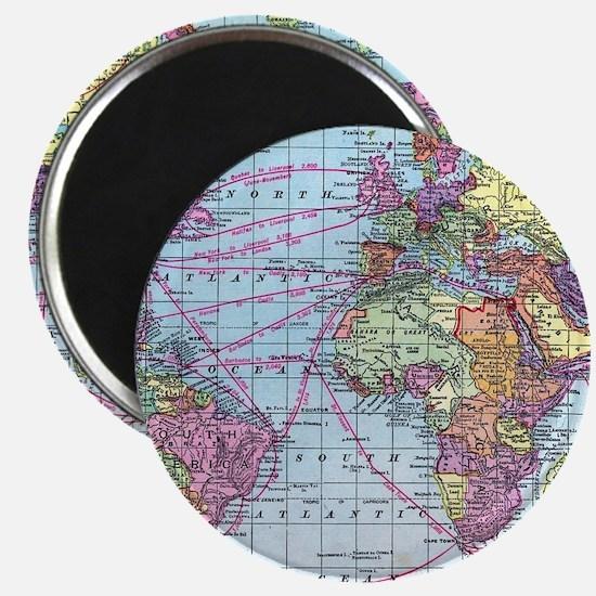 Vintage World travel map Magnet