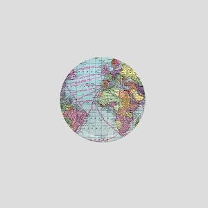 Vintage World travel map Mini Button