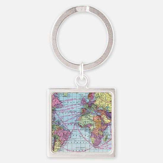 Vintage World travel map Square Keychain
