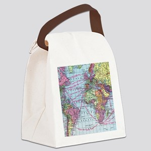 Vintage World travel map Canvas Lunch Bag