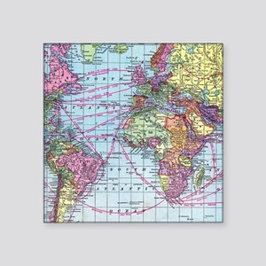 "Vintage World travel map Square Sticker 3"" x 3"""