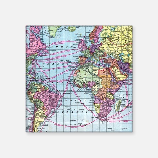 "Vintage World travel map Square Sticker 3"" x 3"""