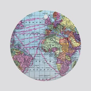 Vintage World travel map Round Ornament