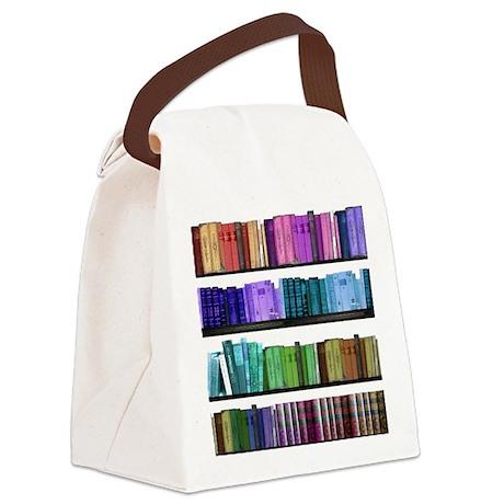 Rainbow bookshelf Canvas Lunch Bag