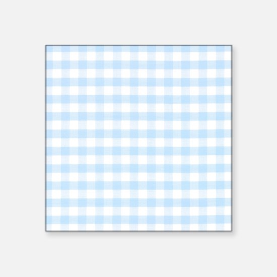 "Blue gingham pattern Square Sticker 3"" x 3"""