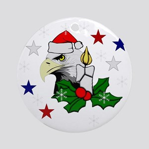 Merry Christmas Eagle Round Ornament