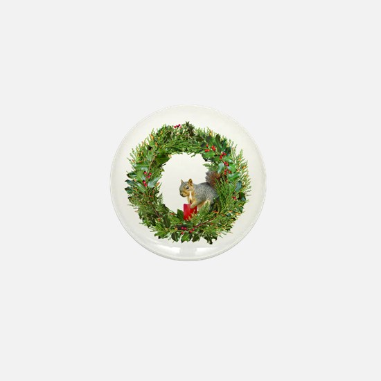 Squirrel Wreath Candle Mini Button