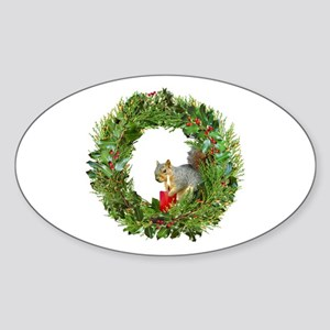 Squirrel Wreath Candle Sticker (Oval)
