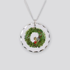 Squirrel Wreath Candle Necklace Circle Charm