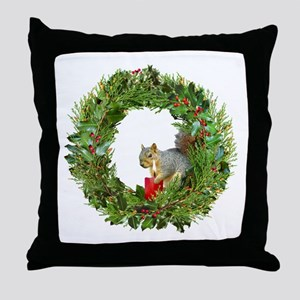 Squirrel Wreath Candle Throw Pillow