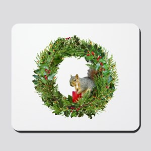 Squirrel Wreath Candle Mousepad