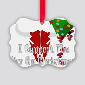 War On Christmas Bull Picture Ornament
